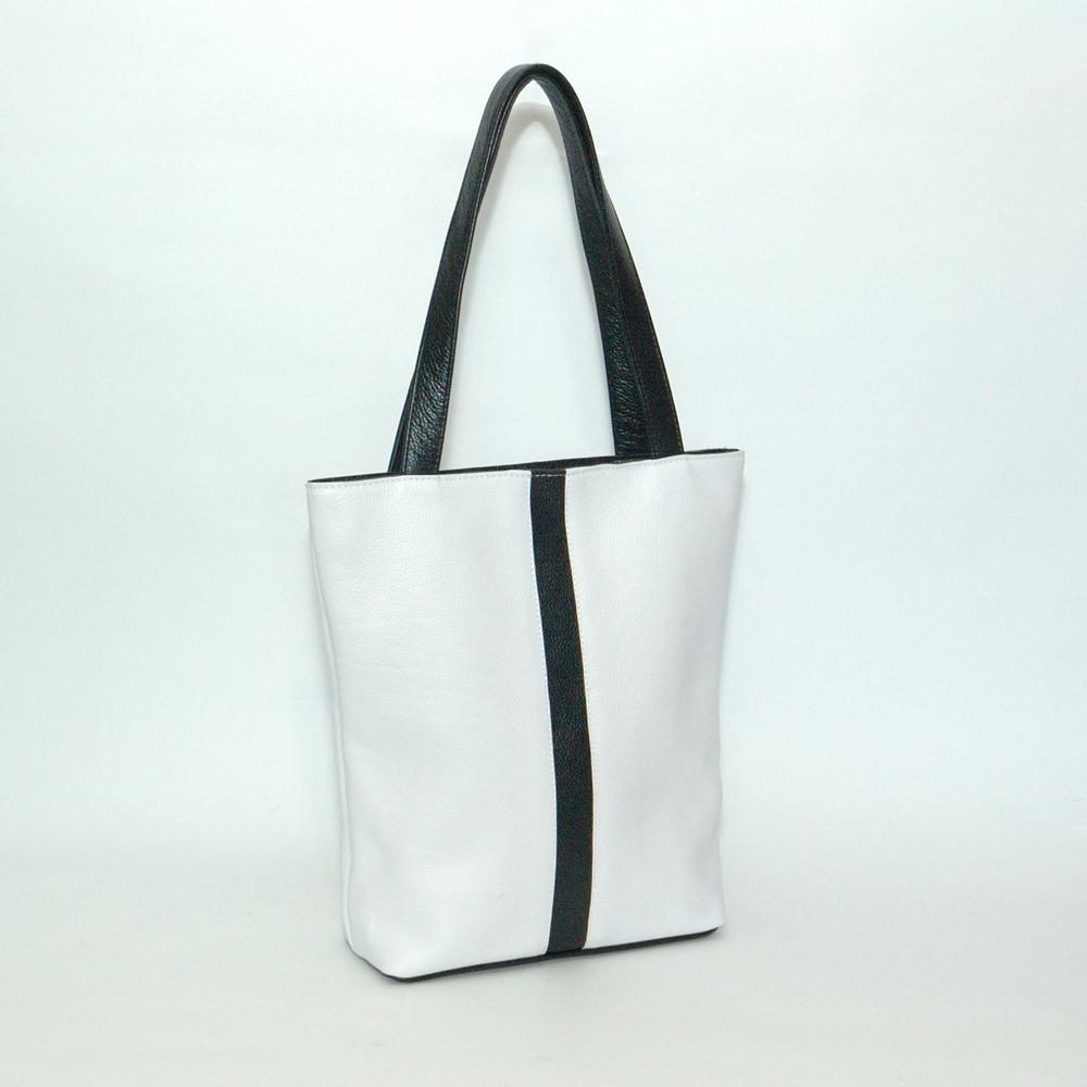 Женская сумка кожаная 27 белая с черным 01270102-01