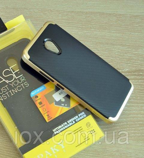 Мягкий чехол-накладка IPAKY Carbon для Meizu M3mini/M3/M3S черно-золотой