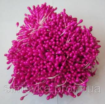 Тычинки для цветов круглые,  упаковка - 50 шт. (пучок из 25 двухсторонних нитей)  Розовые насыщенные