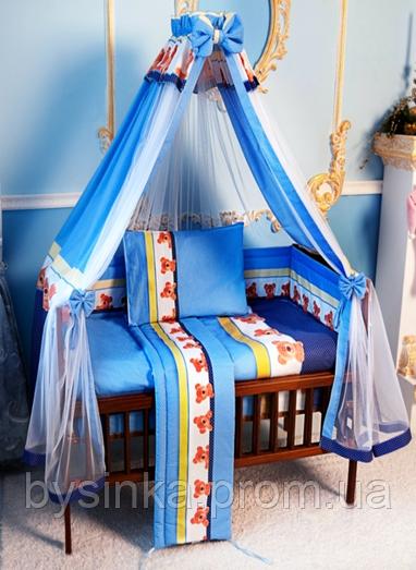 Постельный набор в детскую кроватку из 7-и пред. с Балдахином ткань-сетка.