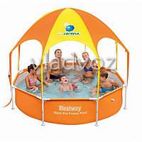 Каркасный бассейн для дачи с навесом bestway 56432 244*51см.