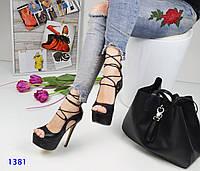 Женские босоножки на высоком каблуке 15 см, эко кожа, черные / босоножки женские на шнуровке, стильные
