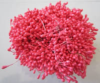 Тычинки для цветов круглые,  упаковка - 50 шт. (пучок из 25 двухсторонних нитей) Ярко-розовые, фото 1