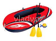 Лодка пвх надувная с веслами и насосом в комплекте 61062