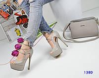 Женские босоножки на высоком каблуке 15 см, эко кожа, серые / босоножки женские на шнуровке, модные