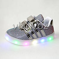 Детские светящиеся кроссовки с led подсветкой для девочки серебристые Jong Golf 24р.