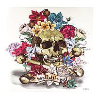 Флеш тату череп с цветами