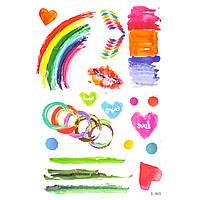 Флеш тату цветные Акварель радуга кольца сердца
