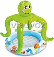 Детский надувной бассейн с навесом осьминог 57115