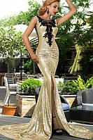 Длинное эксклюзивное вечернее платье в пол с паетками с ажурной отделкой на груди