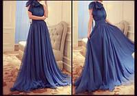 Длинное шифоновое платье в пол с пышной юбкой и бантом на плече