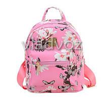 Молодежный модный рюкзак подросток девочка розовый бабочки
