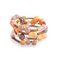 Спиральный браслет из каучука, друзы, кварца, мурано, солнечника и Swarovski BS088