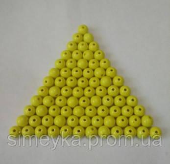 Бусина акриловая (имитация натурального камня) 10 мм. Желтая, 100 шт./уп.