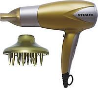 Фен для волос Vitalex VT-4002 золотистый, фен электрический с насадками, компактная сушка для волос