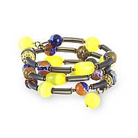 Спиральный браслет из каучука, агата, муранского стекла и Swarovski BS117