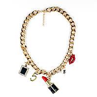 """Колье-цепь золотое с подвесками """"Шанель №5"""" красного цвета"""