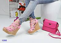 Женские босоножки на танкетке 12 см, коттон, розовые / босоножки женские с переплетом, стильные