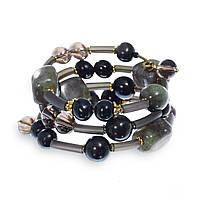 Спиральный браслет из каучука, кошачьего глаза, лабрадора, раухтопаза и Swarovski BS131