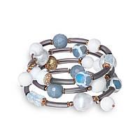 Спиральный браслет из каучука, агата, кварца, керамики и дикого жемчуга BS134