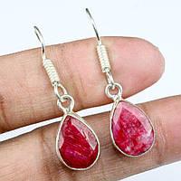 Красивые серьги с натуральным камнем индийский рубин в серебре. Индия!