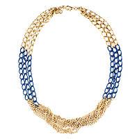 Колье-цепь золотого цвета с синими вставками