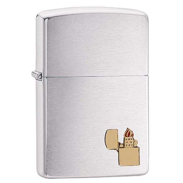 Зажигалка бензиновая Zippo Lighter Emblem 29102 медь и пламя серебристый