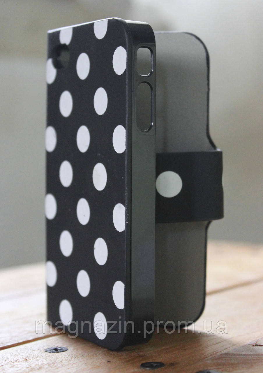 """Купить защитный чехол книжка iPhone 4 """"Стильный горошек"""""""