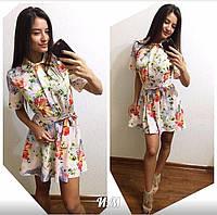 Женское красивое шелковое платье (8 цвета) принт-4, 42-46