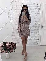 Женский модный шелковый костюм в пижамном стиле: пиджак и шорты (4 цвета)