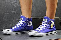 Женские высокие кеды Converse All Star синие / кеды женские Конверс / Конверсы синие, 2017