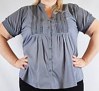 Блуза женская темно-серая, большой размер, 54-64 р-ры