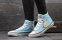 Женские высокие кеды Converse All Star голубые / кеды женские Конверс / Конверсы голубые, стильные