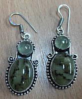 """Серебряные серьги с редким салатовым агатом  """"Пестрые""""  от студии LadyStyle.Biz, фото 1"""