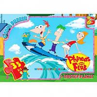 Пазлы Приключения Финеса и Ферба на серфинге, 35 элементов G-Toys PF0020