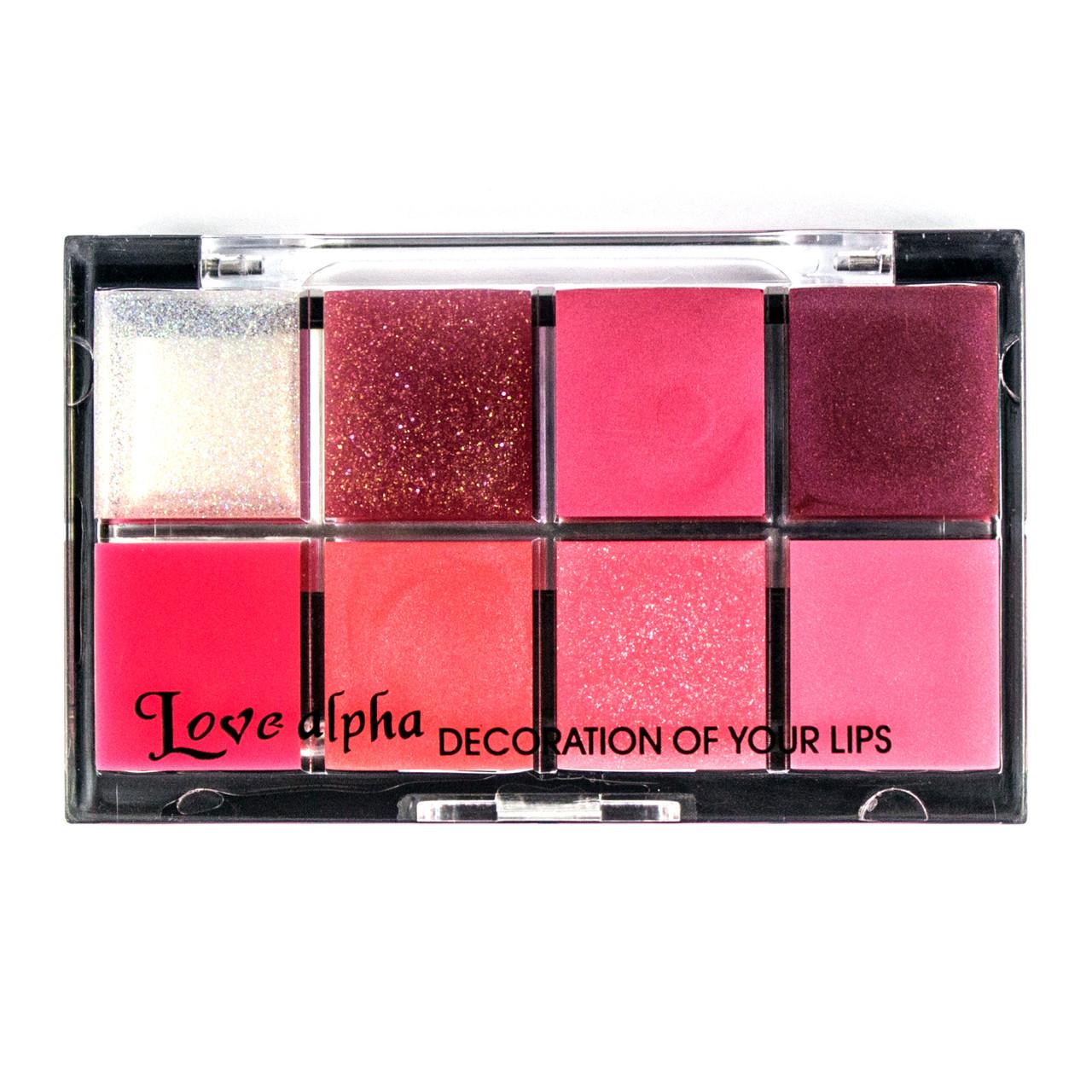 Набор 8 блесков для губ Love Alpha с зеркалом #06