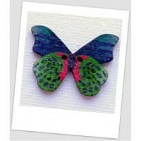 Пуговица деревянная в форме бабочки, цвет зелёный, размер 28 х21 мм, толщина 3мм, размер отверстия 1,5 мм