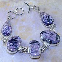 """Нежный серебряный браслет """"Андромеда"""" с натуральным чароитом    от студии LadyStyle.Biz, фото 1"""