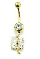 Серьга для пирсинга пупка цветок с кристаллами.Позолота 18к