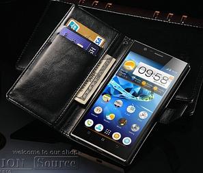 Кожаный чехол-книжка для Lenovo K900 черный, фото 2