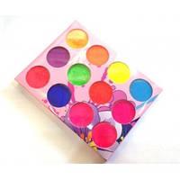 Цветной пигмент для дизайна ногтей набор 12 шт