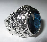 """Потрясающий перстень с лондон блю топазом """"Дракон"""", размер 18 от студии LadyStyle.Biz, фото 1"""