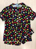 Пижамы женские, комплект рубашка и шорты
