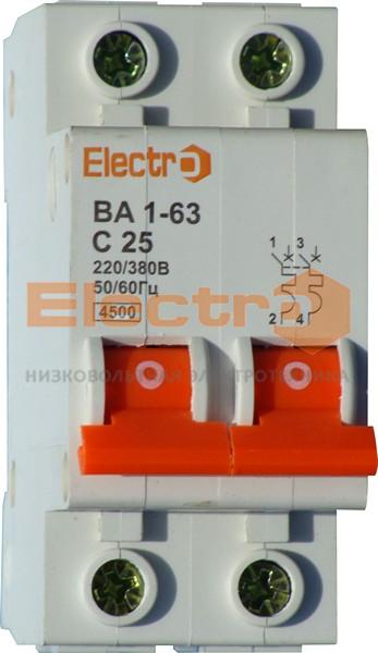 Автоматический выключатель ВА1-63 2 полюси    2A  6кА