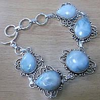 """Ажурный серебряный браслет """"Кружево-1"""" с натуральными  ларимарами от студии LadyStyle.Biz, фото 1"""