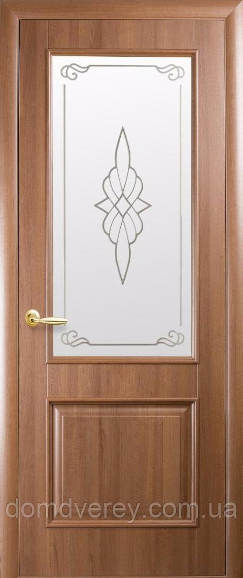 Двері міжкімнатні Новий Стиль, ІНТЕРА, модель Вілла, зі склом сатин і малюнком Р1