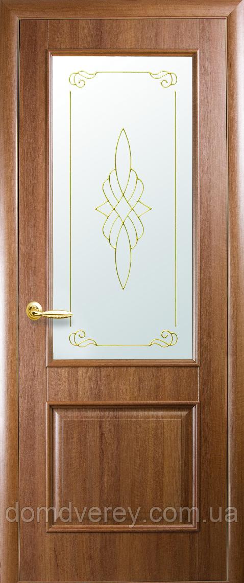 Двері міжкімнатні Новий Стиль, ІНТЕРА, модель Вілла, зі склом сатин і малюнком Р2