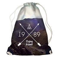 """Рюкзак мешок молодежный темно-синий с принтом """"Наслаждайся путешествием"""" ,магазин рюкзаков"""