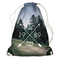 """Рюкзак мешок молодежный темно-серый с принтом """"Наслаждайся путешествием"""" ,магазин рюкзаков"""