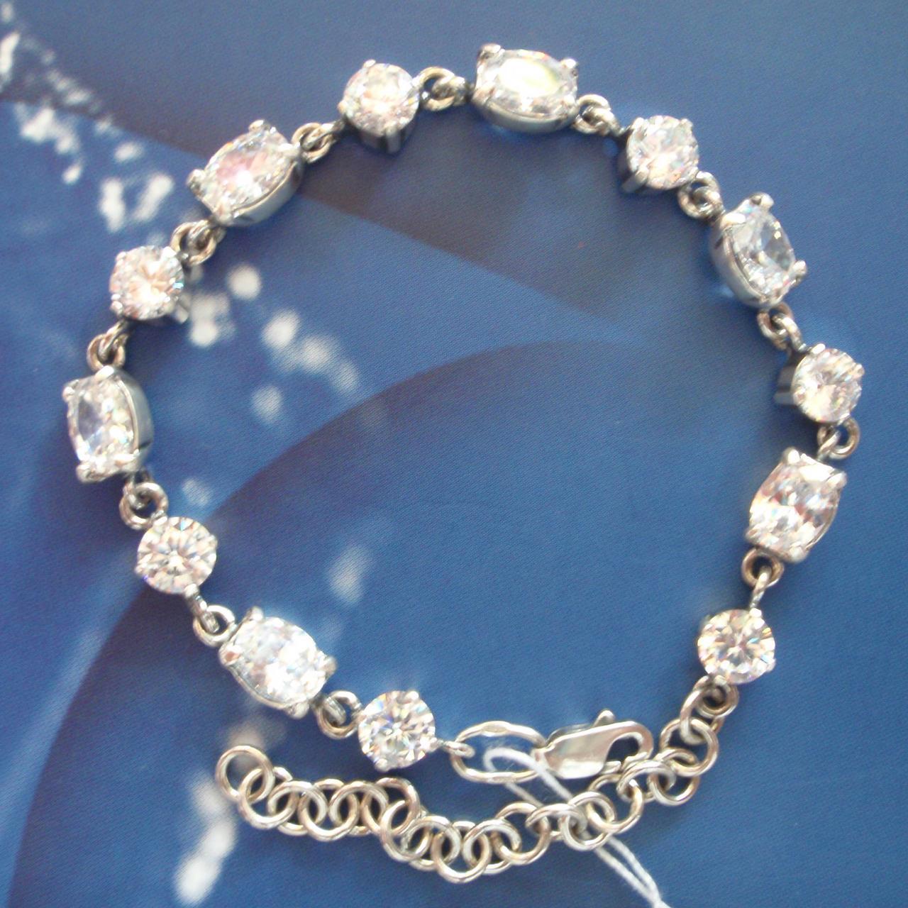 Срібний жіночий браслет з камінням і ланцюжком, 180-230мм